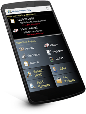 Tablet showing mobile law enforcement software